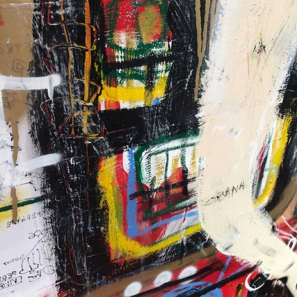 "Close Up of a mixed media modern canvas painting. ""Past Future"""