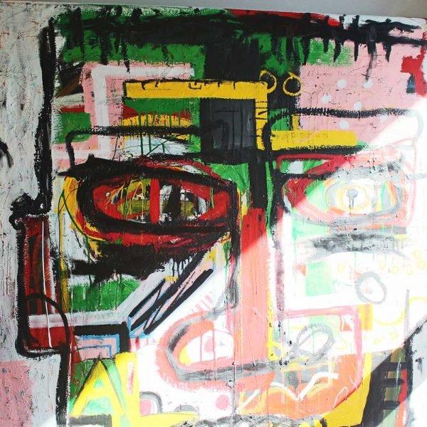 "Extremely detailed close-up a creative street art original art. ""Headmaster"""