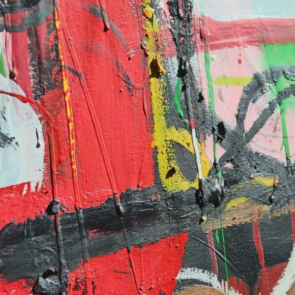 """Details of an Art Brut style contemporary wall art. """"Headmaster"""""""