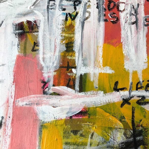 """Close Up of a Basquiat style painting. """"Delete Zone"""""""