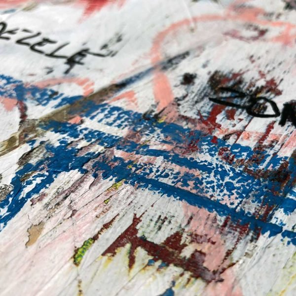 """Close Up of a mixed media modern canvas painting. """"Delete Zone"""""""