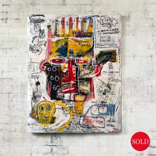 """Front image of the canvas painting for sale """"Delete Zone"""" - Studio View."""