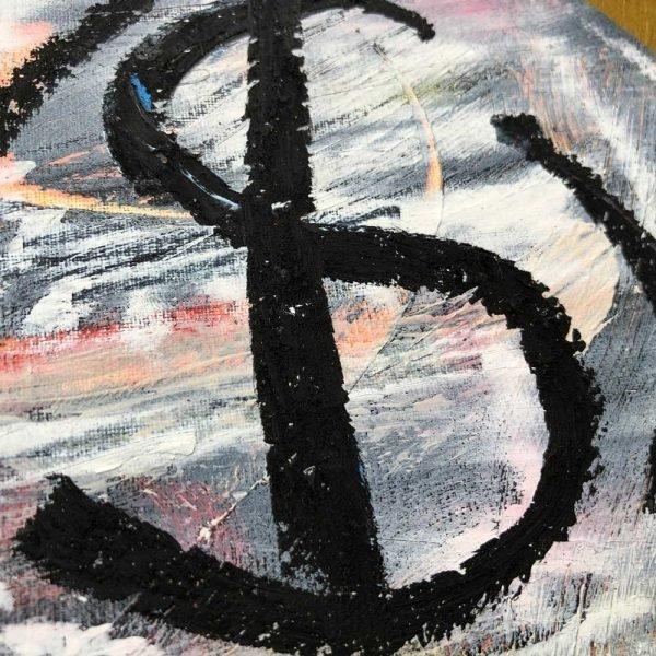"""Deep look at a conceptual / minimalist original canvas. """"I'm a Bitcoin"""""""