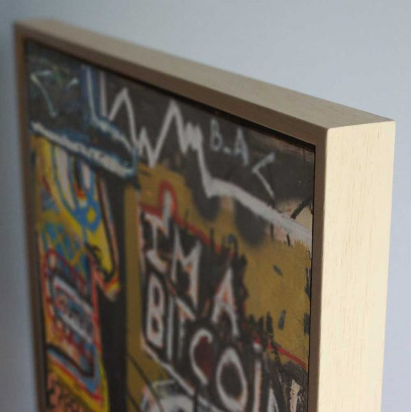"Deep look at a contemporary wall art. ""I'm a Bitcoin"""