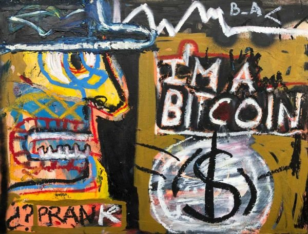 """I'm a Bitcoin"" modern artwork for sale"