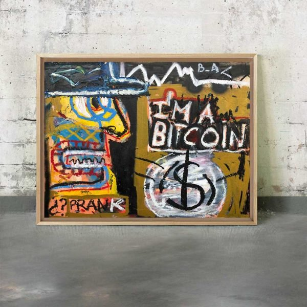"Front image of the mixed media painting in situ ""I'm a Bitcoin"" - Studio View."
