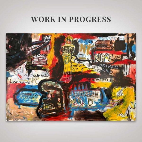 "Work in progress of the paiting ""Manhattan World"""