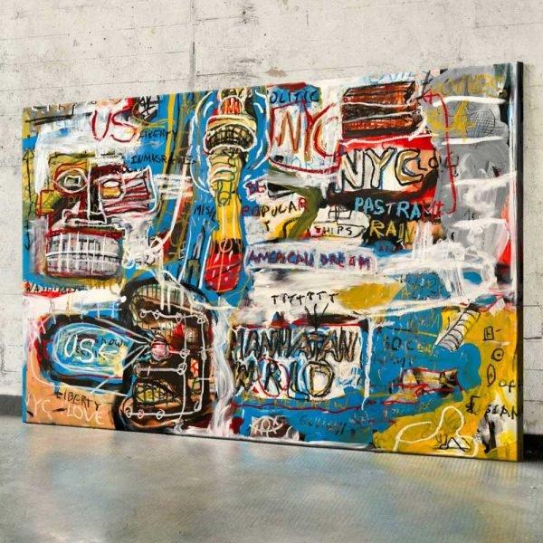 "Full photo of the modern art in situ ""Manhattan World"" - Studio View."