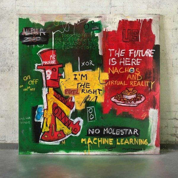 "Full photo of the Neo-Expressionist fine art on the studio ""Mr. Machine"" - Studio View."