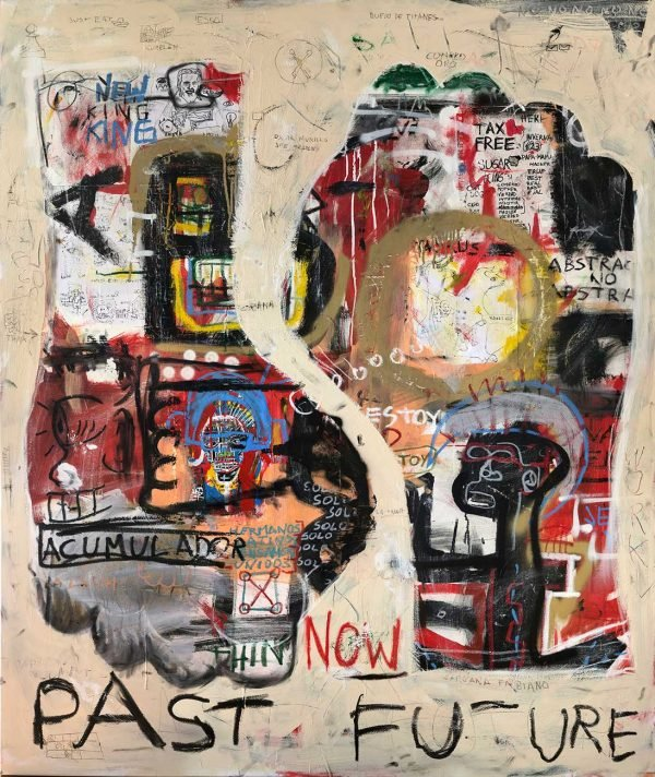 """Past Future"" Basquiat style painting for sale"