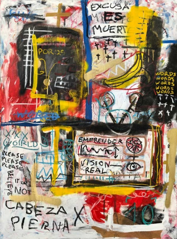"""Please Please Please"" Basquiat style painting for sale"