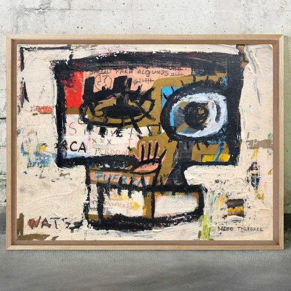 "Imagen completa of the art for sale online ""Salud para todos, perdón y fuerza Painting"" - Studio View."