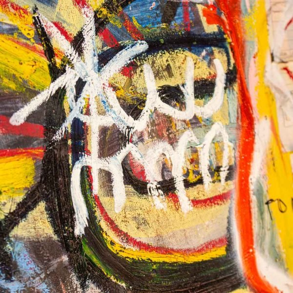 "Close Up of a Basquiat style painting. ""Perturbator"""