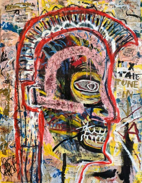 """Perturbator"" Basquiat style painting for sale"