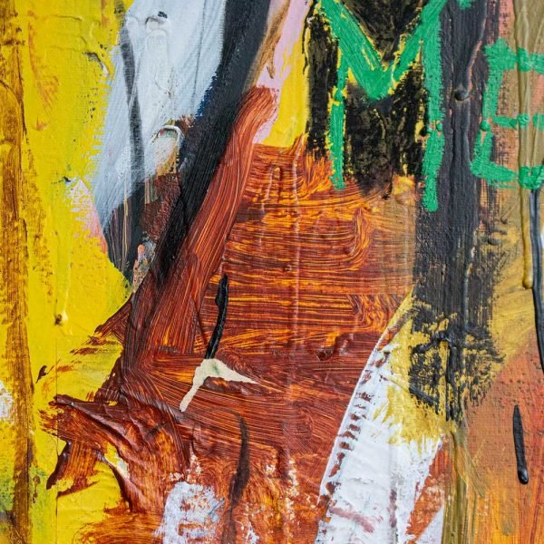 "Close Up of a mixed media modern canvas painting. ""Verdadera Carne de Buey"""