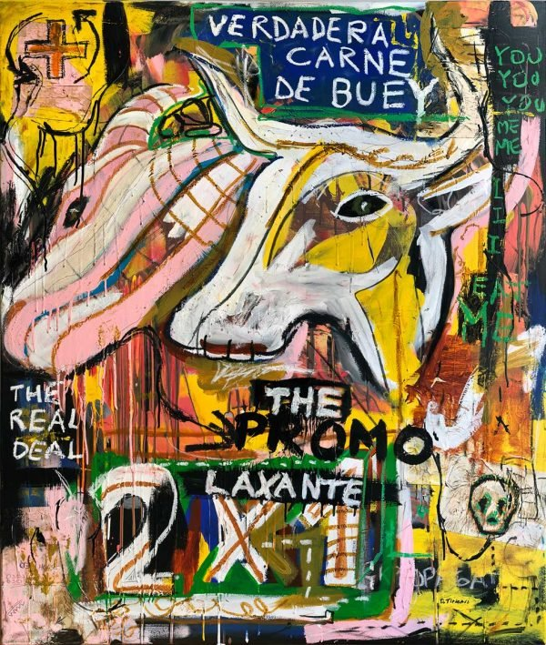 """Verdadera Carne de Buey"" Basquiat style painting for sale"