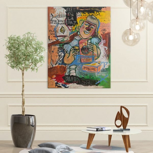 Cereal Girl painting hanging on a luxurious wall