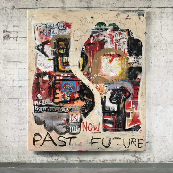 "Front image of the mixed media painting in situ ""Past Future"" - Studio View."