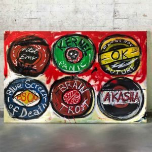 """Front image of the canvas painting for sale """"The Kernel Panic of Akasha"""" - Studio View."""