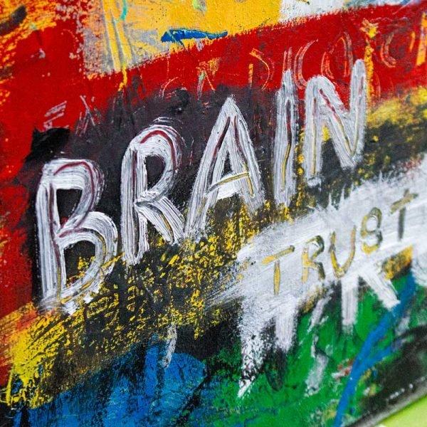 """Details of an Art Brut style contemporary wall art. """"Braintrust"""""""