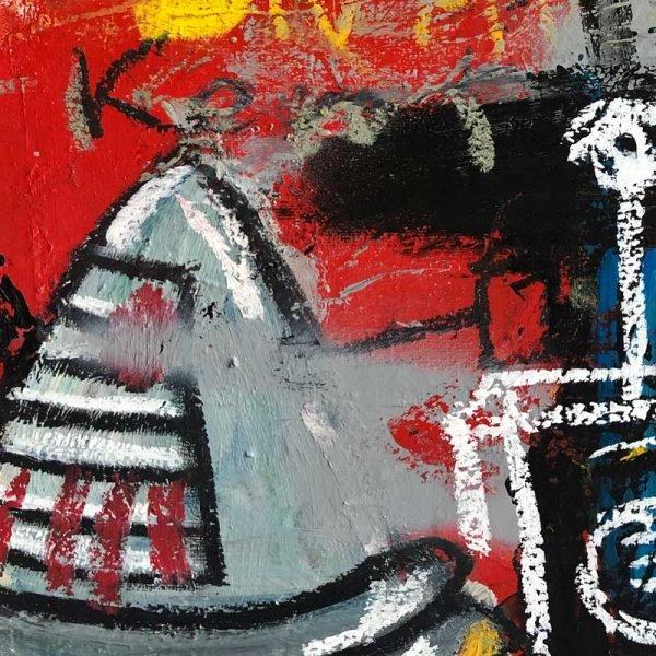 """Close Ups of a Street Art inspired modern painting. """"Braintrust"""""""