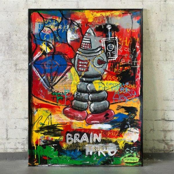 """Imagen completa of the original art on the studio """"Braintrust"""" - Studio View."""