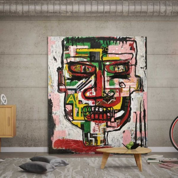 Portrait painting in Basquiat style