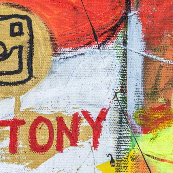 "Close Up of a Basquiat style painting. ""Gluttony Soup Preserves"""