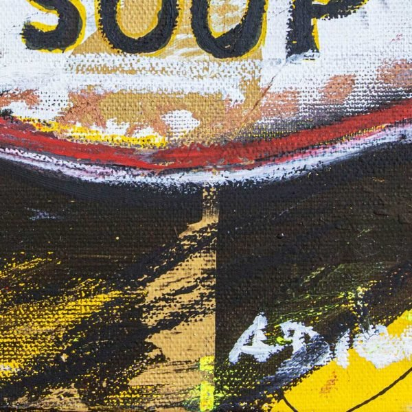 "Closeup of a Neo-Expressionist and Street Art creation. ""Gluttony Soup Preserves"""
