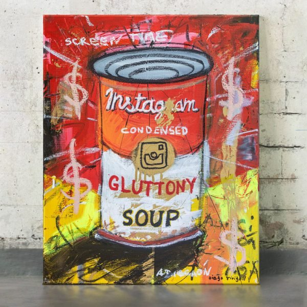 "Imagen completa of the original artwork for sale online ""Gluttony Soup Preserves"" - Studio View."