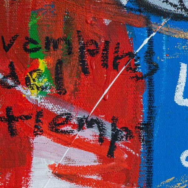 "Close Ups of a Street Art inspired modern painting. ""Greed Soup Preserves"""