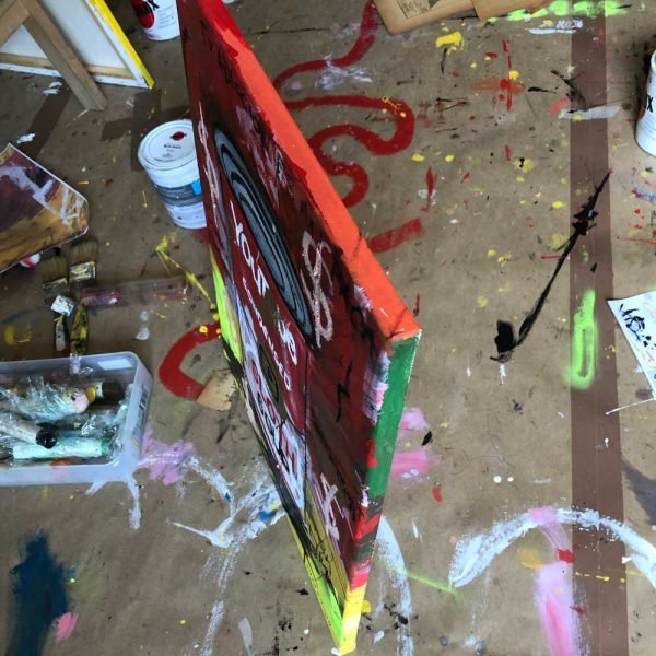 """Closeup of a Neo-Expressionist and Street Art creation. """"Sloth Soup Preserves"""" - Youtube"""