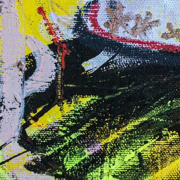 """Close Up of a mixed media modern canvas painting. """"Lust Soup Preserves"""" - Tinder"""