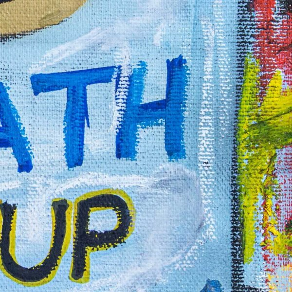 "Details of a Street Art style modern art. ""Wrath Soup Preserves"""