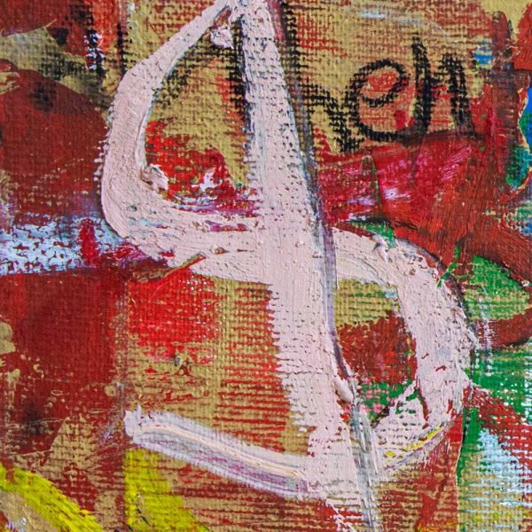 "Close Up of a mixed media modern canvas painting. ""Envy Soup Preserves"""