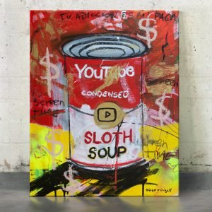"Imagen completa of the original art on the studio ""Sloth Soup Preserves"" - Studio View."