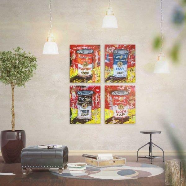 Social network paintings in situ