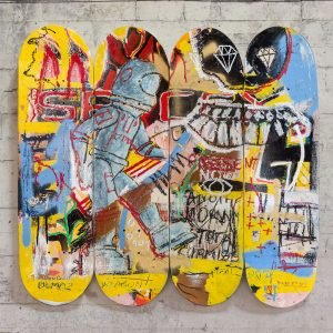 "Full photo of this modern art on skateboard deck ""Another Moon Mission"" - Studio View."