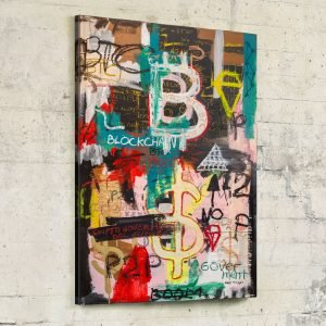 "Front image of the original neo expressionist art for sale ""Bitcoin And Blockchain Boom"" - Studio View."