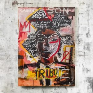 "Front image of the canvas painting for sale ""Basquiat-Portrait"" - Studio View."