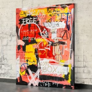 "Front image of the original neo expressionist art for sale ""Loot Box"" - Studio View."