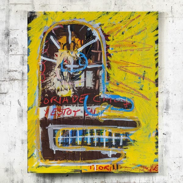 """Teoría de Choque"" Basquiat style painting for sale"
