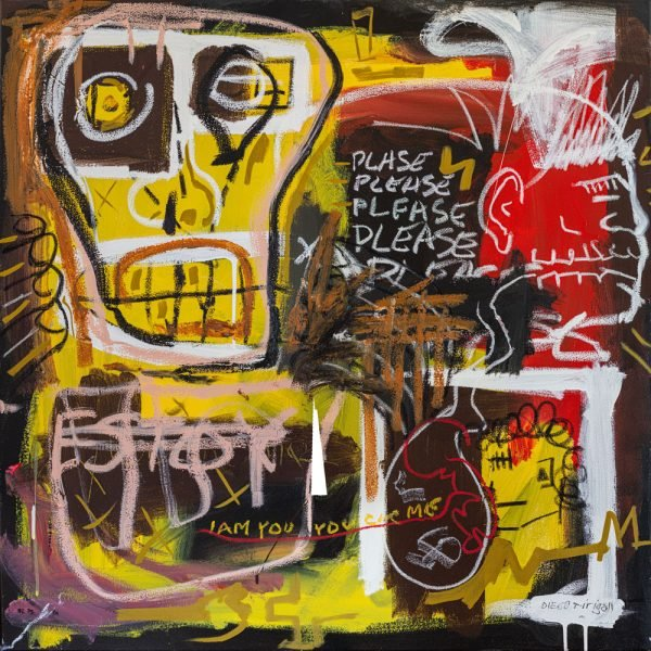 """This Is Life"" Basquiat style painting for sale"