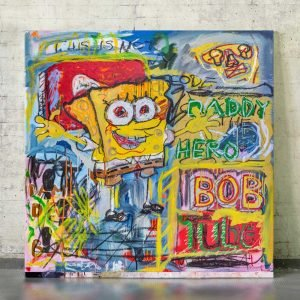 Front image of the original neo expressionist art for sale SpongeBob - Studio View.