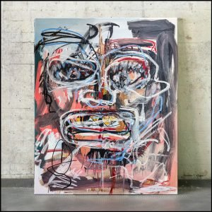Front image of the original neo expressionist art for sale, Self Portrait,