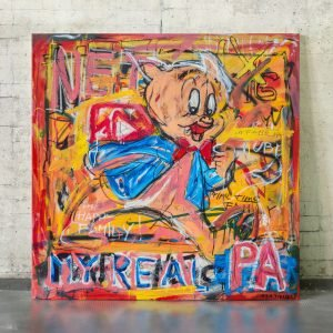 Front image of the canvas painting for sale Porky - Studio View.