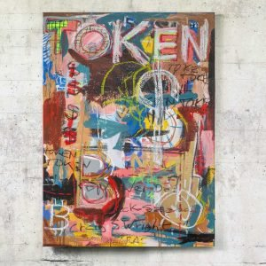Expressionist street art painting inspired by NFT, Basquiat and blockchain